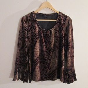 WILLI SMITH ANIMAL PRINT VELOUR TOP - NWOT